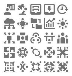 Teamwork Organization Icons 4 vector image vector image