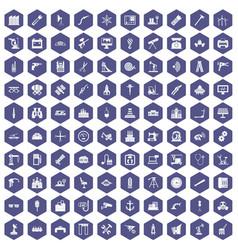 100 equipment icons hexagon purple vector