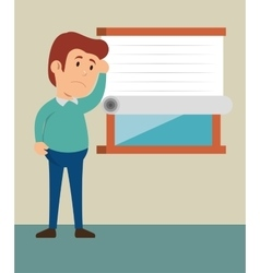 cartoon guy thinking stress problem vector image