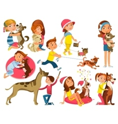 Children With Pets Set vector image