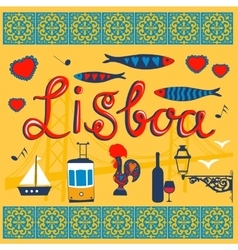 Lisbon related typical icons collection vector image vector image
