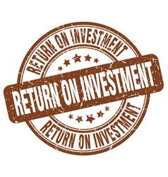 Return on investment brown grunge stamp vector