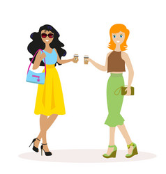 two friends or colleagues communicate with morning vector image