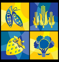 vegetables color cross vector image