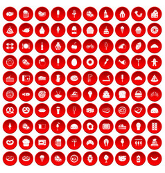 100 calories icons set red vector