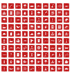 100 water supply icons set grunge red vector
