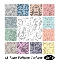 13 Retro Patterns Textures Set 6 vector image