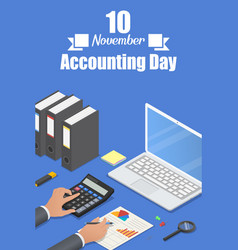 Accounting day concept background isometric style vector