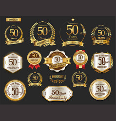 Anniversary golden laurel wreath and badges 50 vector