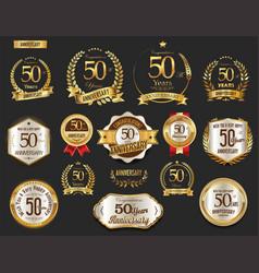 anniversary golden laurel wreath and badges 50 vector image