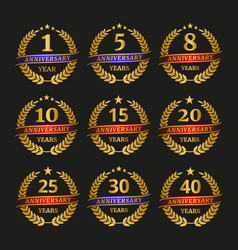 anniversary golden laurel wreath set vector image