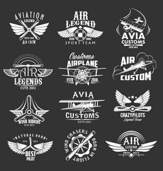 aviation heraldic icons isolated labels vector image