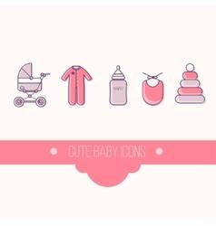 Baby flat icon set vector