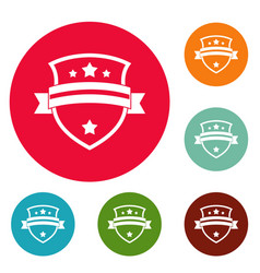 badge knight icons circle set vector image