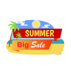 big summer sale label tropical beach palm trees vector image