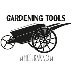 Black and white wheelbarrow silhouette vector