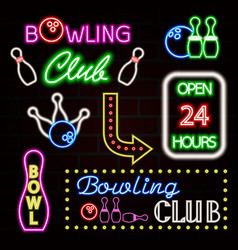 bowling neon sign set bowling club logo emblem vector image