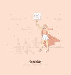 Brave hero lady superhero in cape holding placard vector