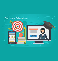 business banner - distance education vector image