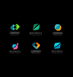 Business set abstract colorful logos icons vector