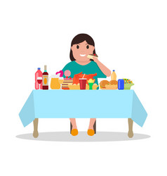 cartoon fat woman at the table vector image
