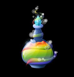 Cartoon potion bottle with rainbow magic elixir vector