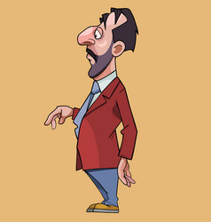Cartoon solid man with a big nose in a suit and vector