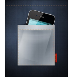 cell phone in a pocket jeans vector image