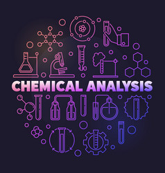 Chemical analysis colorful round outline vector