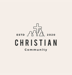 christian people community hipster vintage logo vector image