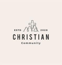 Christian people community hipster vintage logo vector