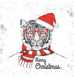 christmas hipster fashion animal tiger vector image