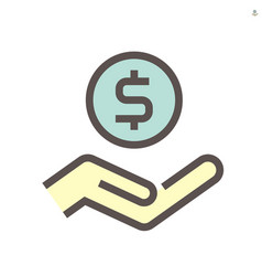 coin and hand icon for financial graphic design vector image
