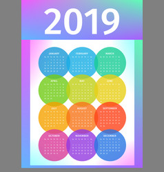 colorful 2019 calendar from multicolored circles vector image