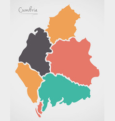 cumbria england map with states and modern round vector image
