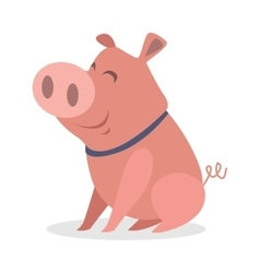Cute funny piglet flat style icon vector
