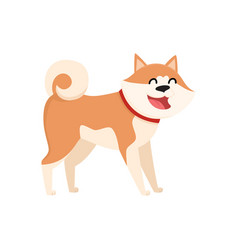 cute smiling akita inu dog character isolated vector image