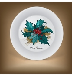 Decorative plate with Christmas holly vector