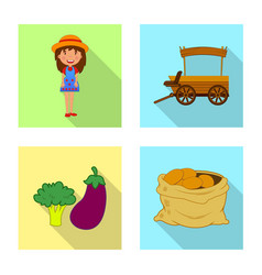 design of farm and agriculture sign set of vector image