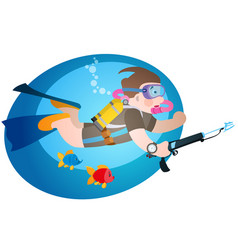 diver under water with a speargun diving and trism vector image
