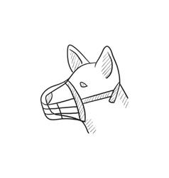 Dog with muzzle sketch icon vector