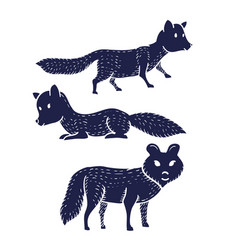 dogs or foxex or wolves hand drawn on white vector image