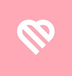E or m letter based design in heart shape vector
