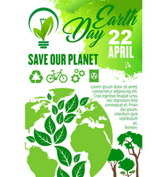 earth day and save planet poster for eco concept vector image