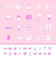 Entertainment color icons on pink background vector