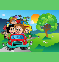 family in car going on vacation vector image