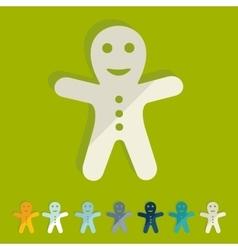 Flat design gingerbread man vector image