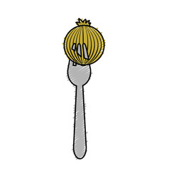 fresh onion vegetable in the fork utensil vector image