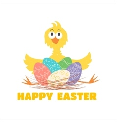 Funny chicken and Easter eggs vector