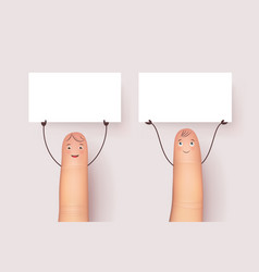 Funny fingers with blank white poster vector